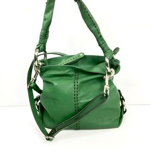 b. makowsky Bags - B Makowsky Green Leather Convertible Crossbody Bag